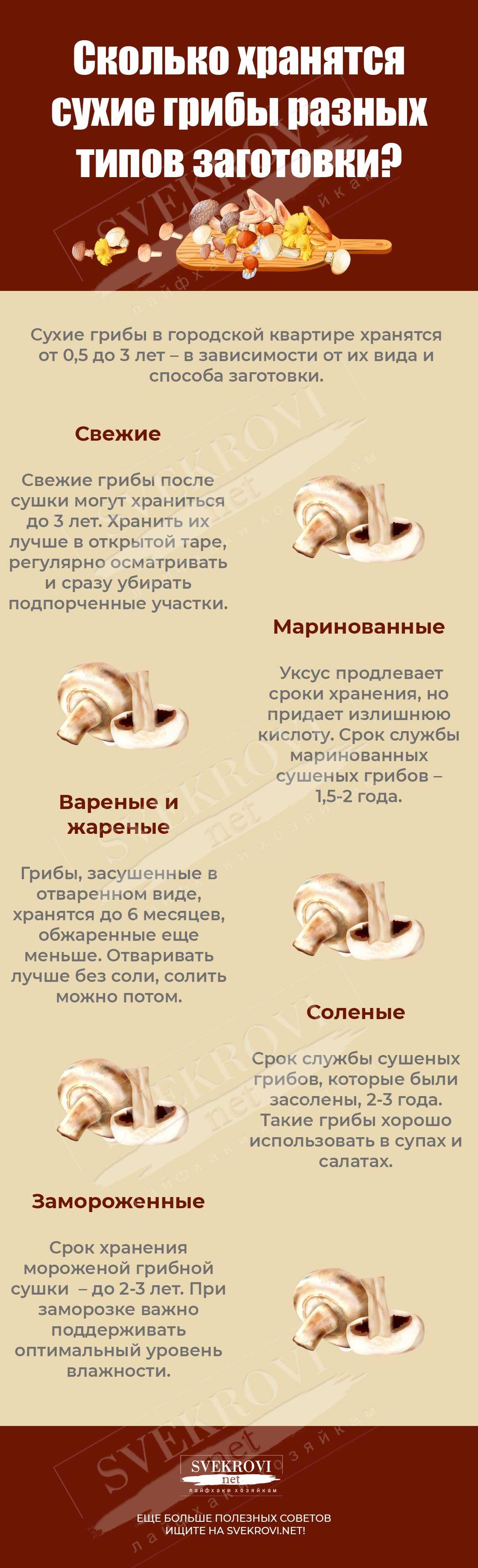 Хранение грибов длительное время